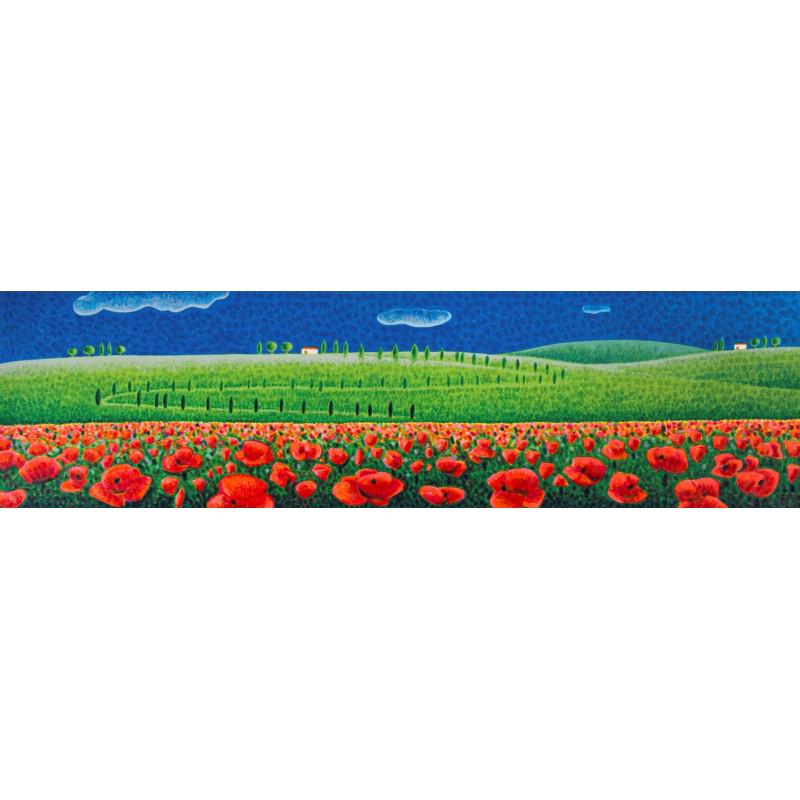 Mimmo Sciarrano - Campo di papaveri - Serigrafia 50x140