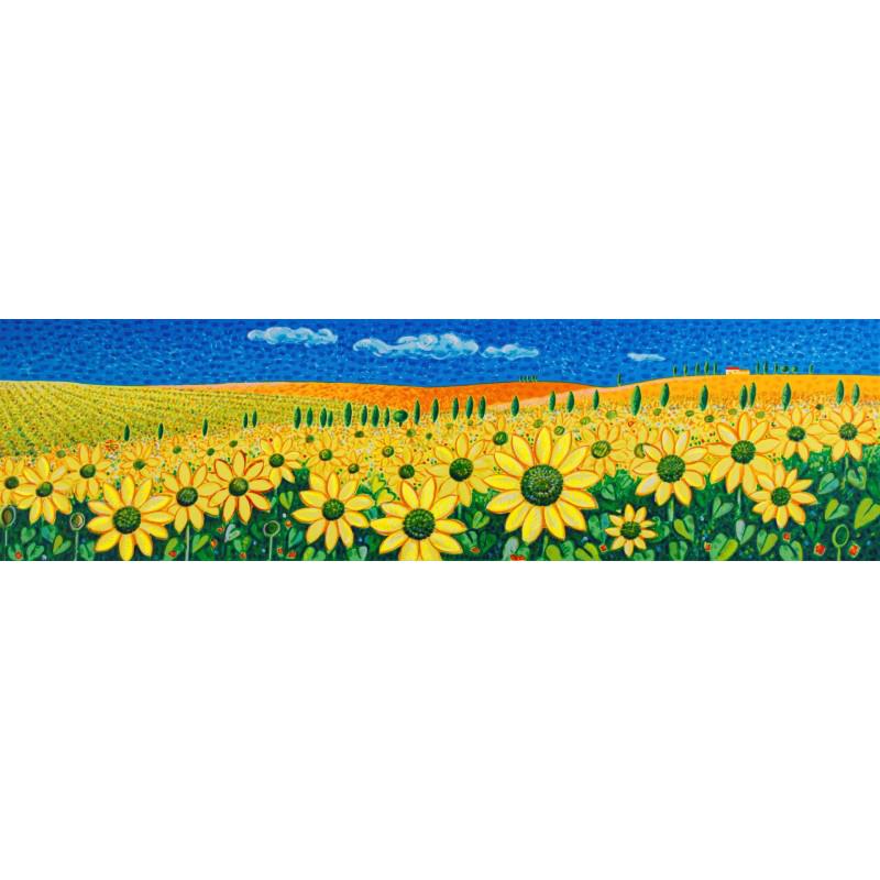 Mimmo Sciarrano - Le colline dei girasoli - Serigrafia 50x140