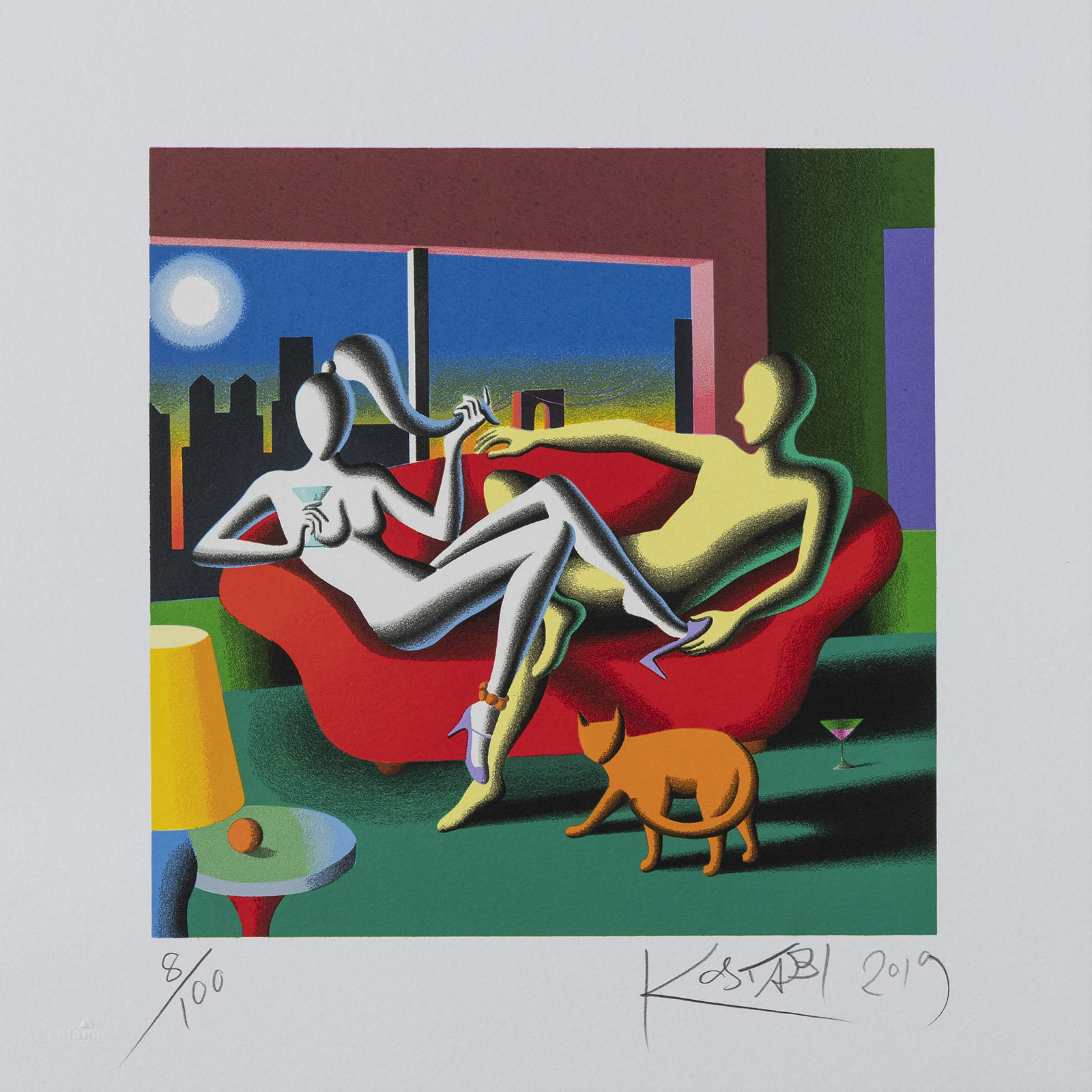 Mark Kostabi – Date Night – 35×35