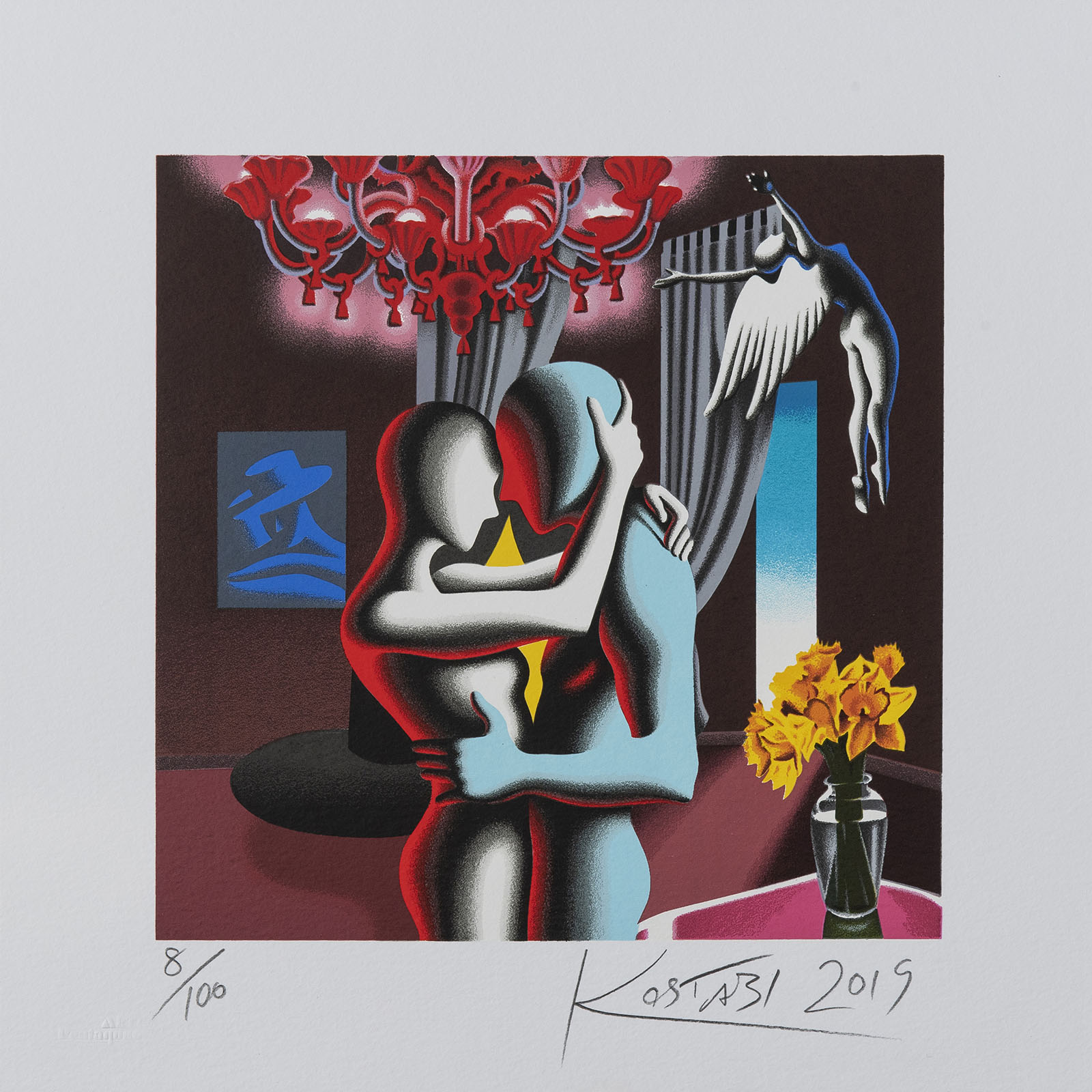 Mark Kostabi – Embracing The Future – 35×35