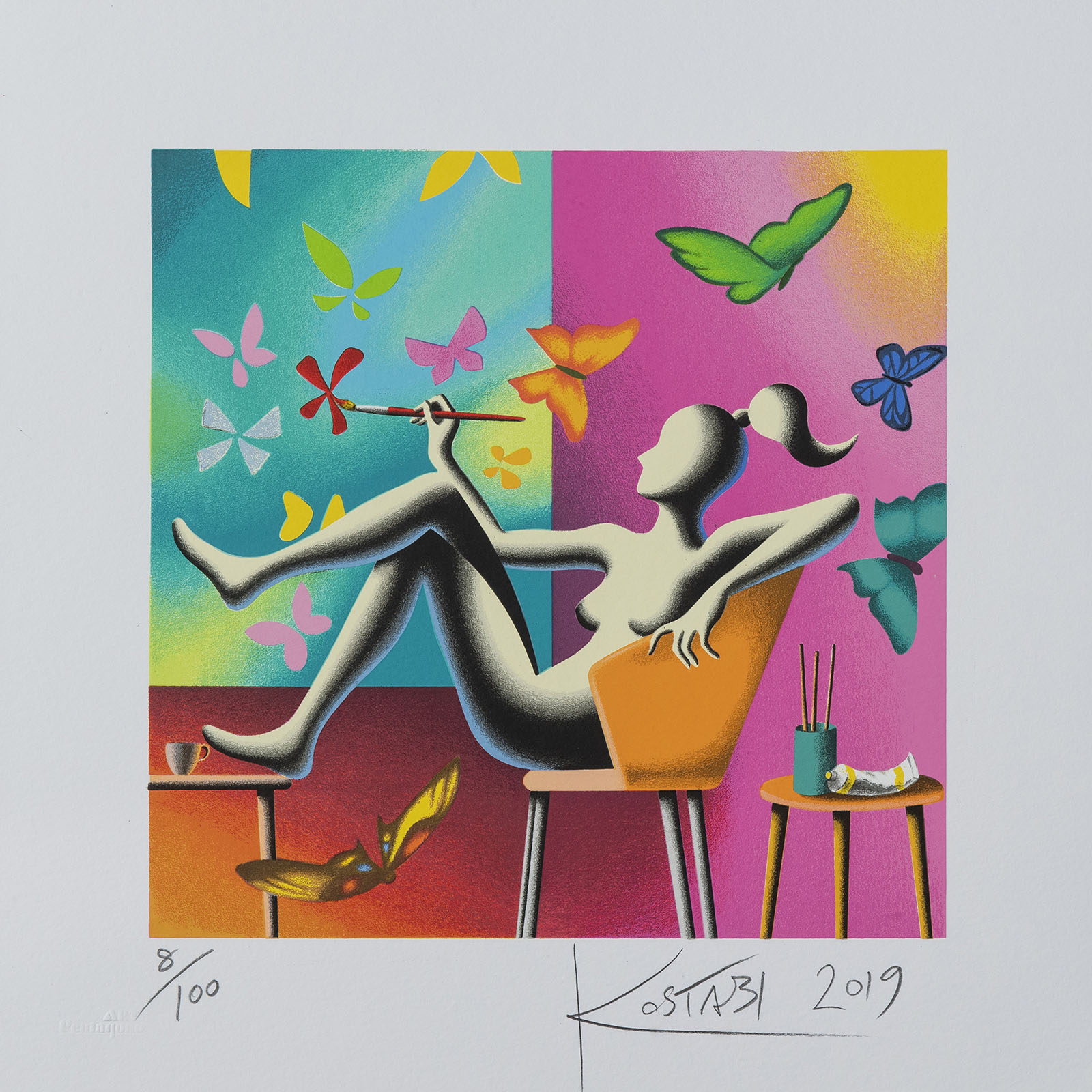 Mark Kostabi – Flight Of Fantasy – 35×35