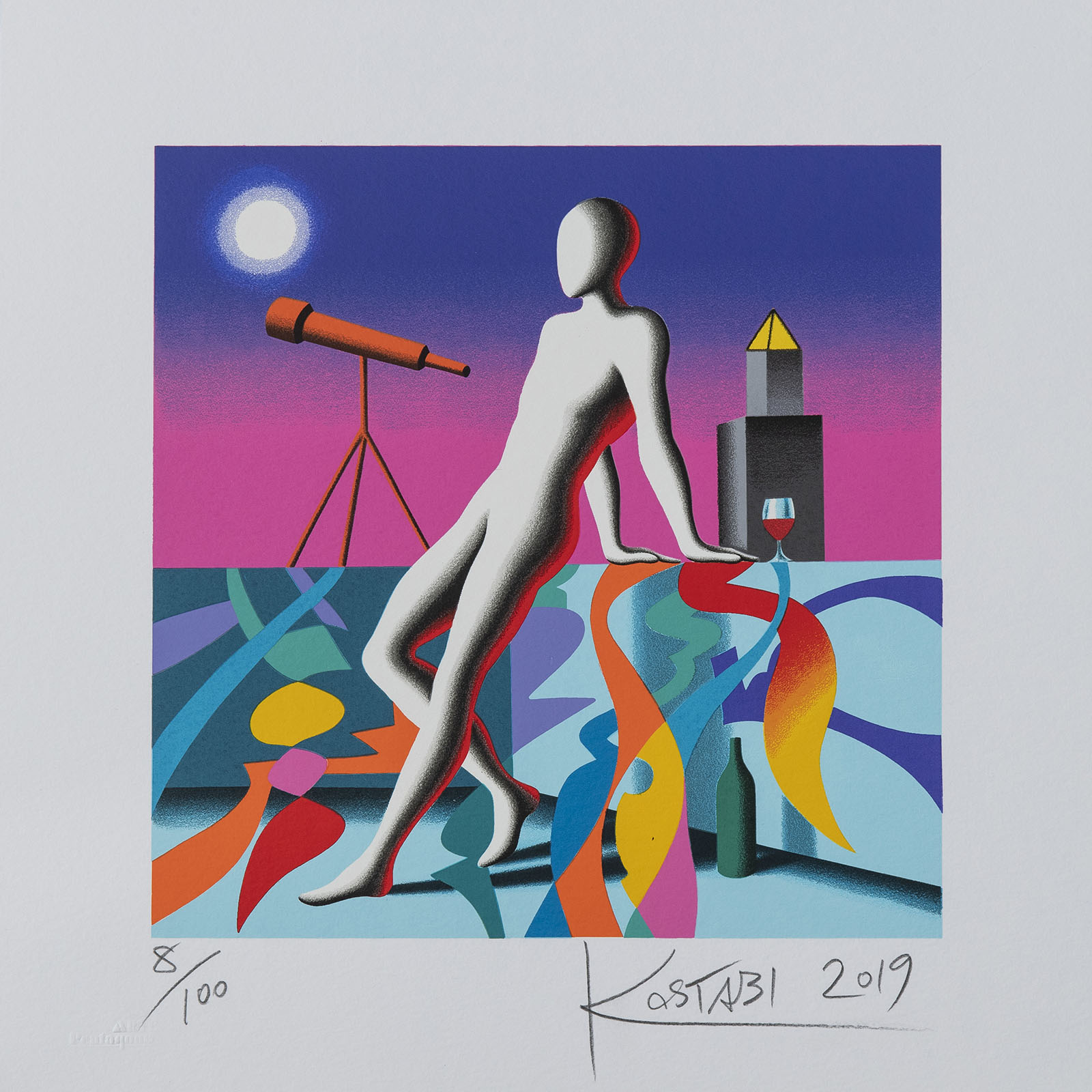 Mark Kostabi – Long Distance – 35×35