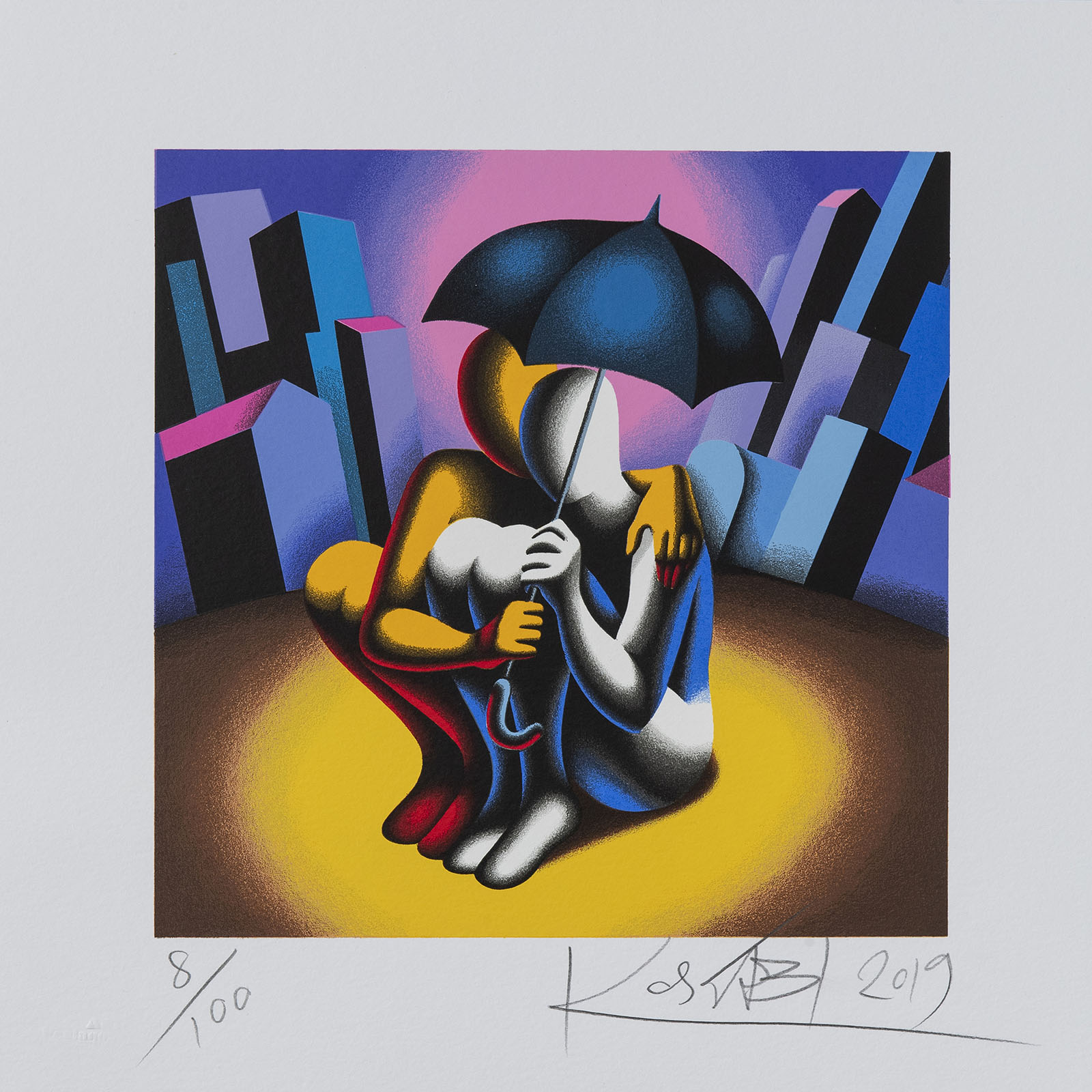 Mark Kostabi – Protection – 35×35