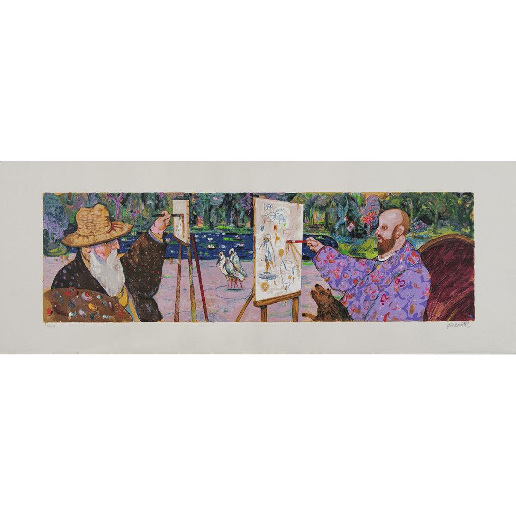 Antonio Possenti - A giverny - Serigrafia polimaterica 45x120cm