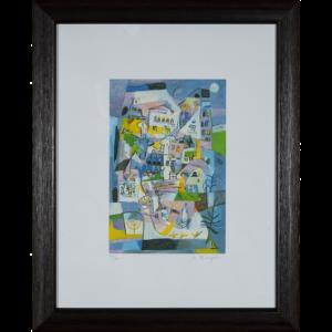 Miljenko Bengez – Motivo Con La Luna – Serigrafia 52x42cm