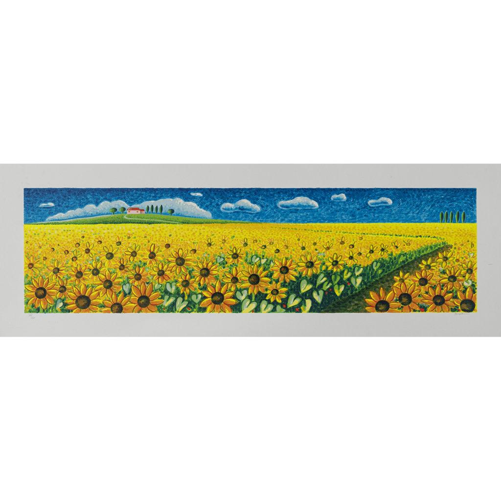 Mimmo Sciarrano - Campo di girasoli - Serigrafia polimaterica 35x100cm