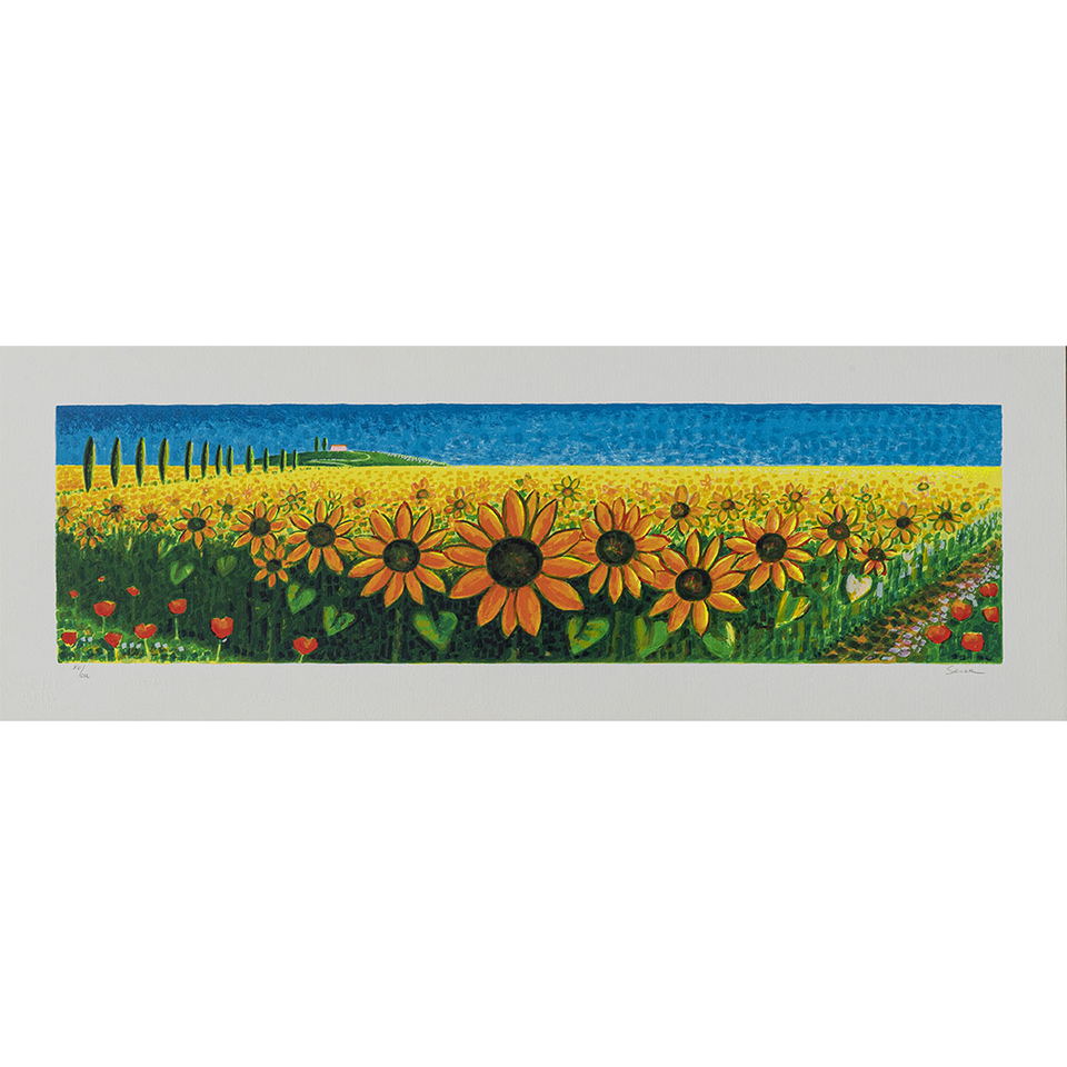 Mimmo-Sciarrano-Girasoli-Serigrafia-polimaterica-25x70cm