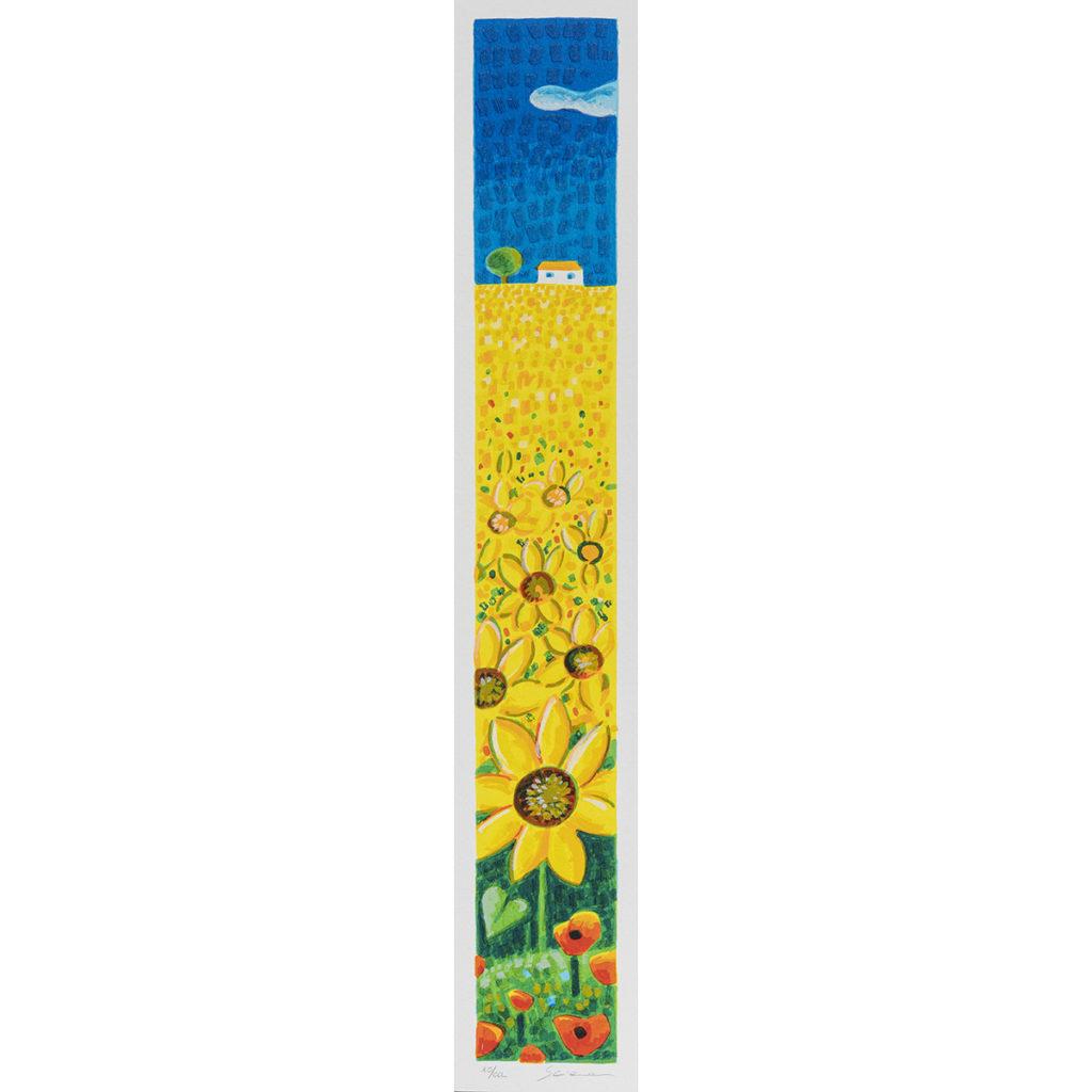 Mimmo Sciarrano - Girasoli - Serigrafia polimaterica 8x50cm