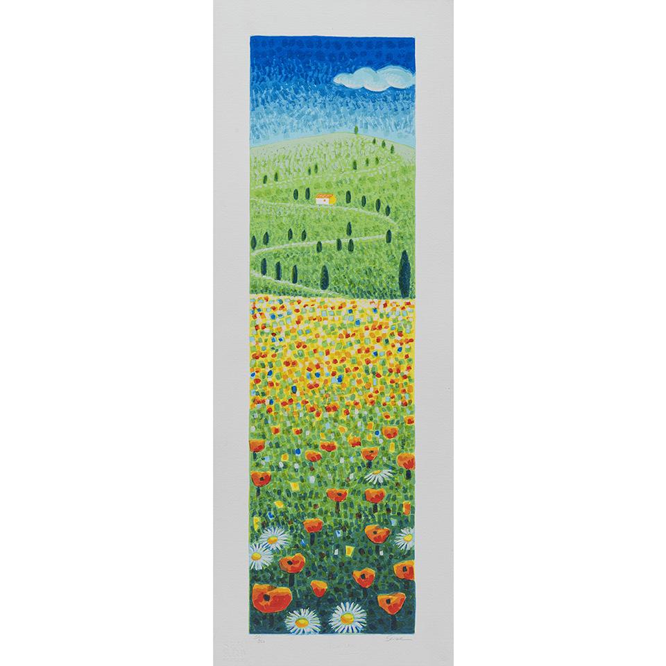 Mimmo Sciarrano – Paesaggio Toscano – Serigrafia Polimaterica 25×70