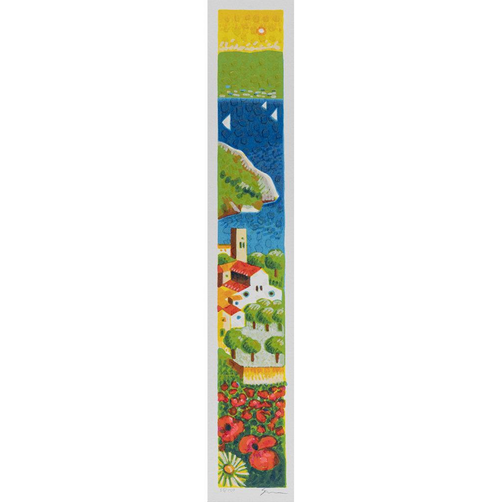 Mimmo Sciarrano - Positano - Serigrafia polimaterica 8x50cm