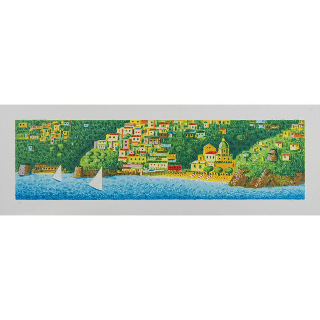 Mimmo Sciarrano - Positano al mare - Serigrafia polimaterica 35x100cm
