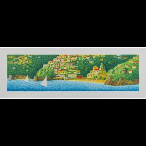 Mimmo-Sciarrano-Positano-al-mare-Serigrafia-polimaterica-35x100cm