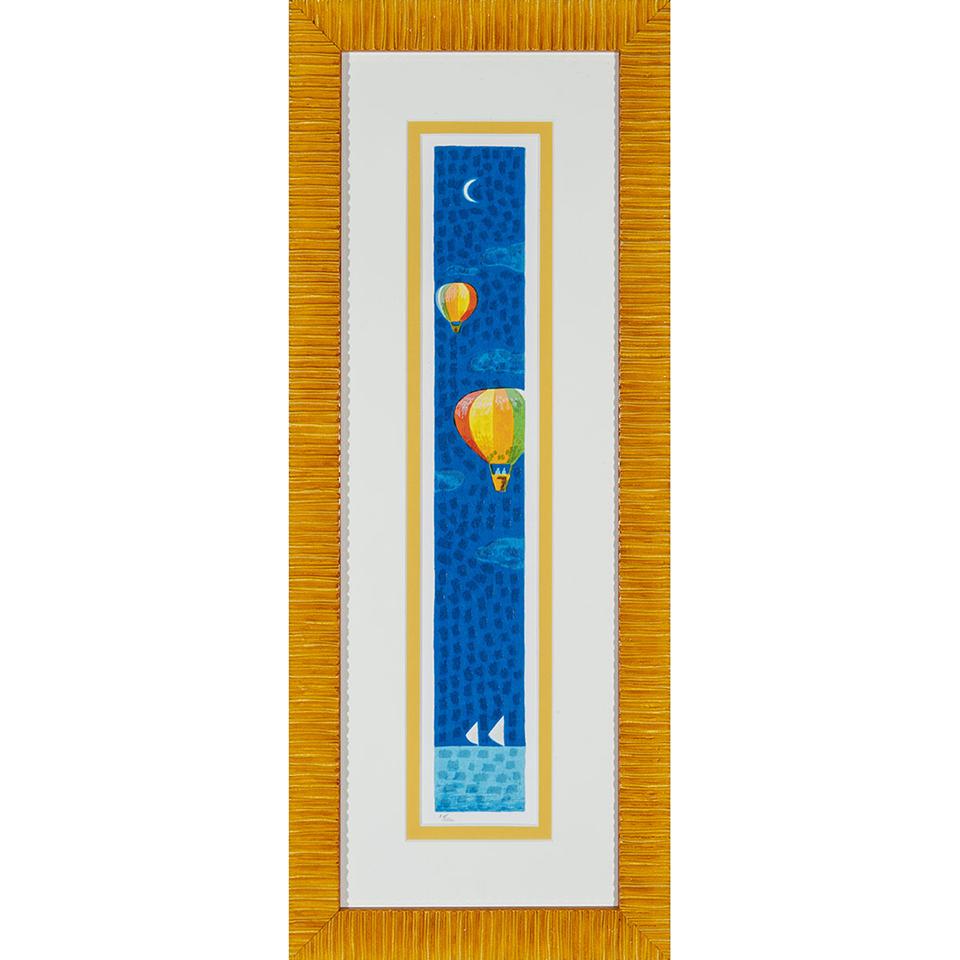 Mimmo Sciarrano – Volando sul mare – Serigrafia polimaterica 27x68cm