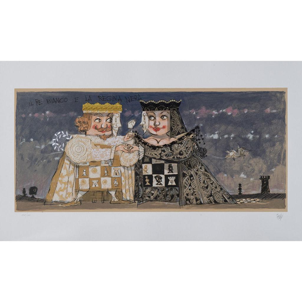 Paolo Fresu - Il re bianco e la regina nera - Serigrafia e collage 60x140 cm