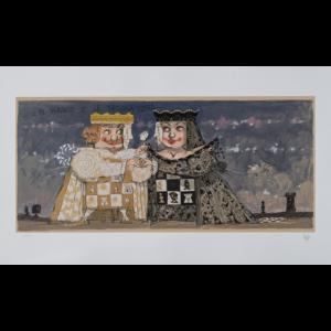 Paolo Fresu – Il Re Bianco E La Regina Nera – Serigrafia E Collage 60×140 Cm