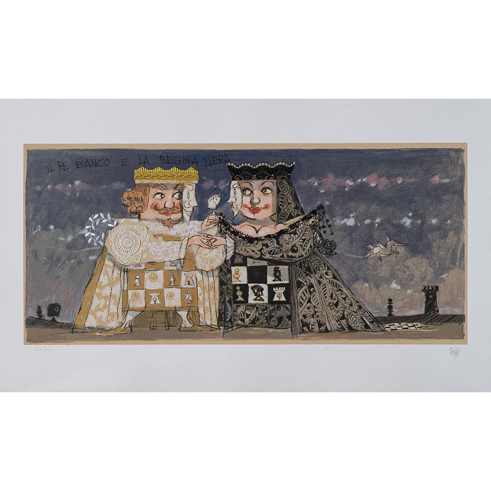 Paolo Fresu – Il Re Bianco E La Regina Nera – Serigrafia E Collage 60×140