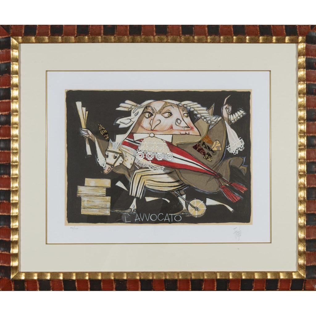 Paolo Fresu - L'avvocato - Serigrafia e collage 86x73 cm