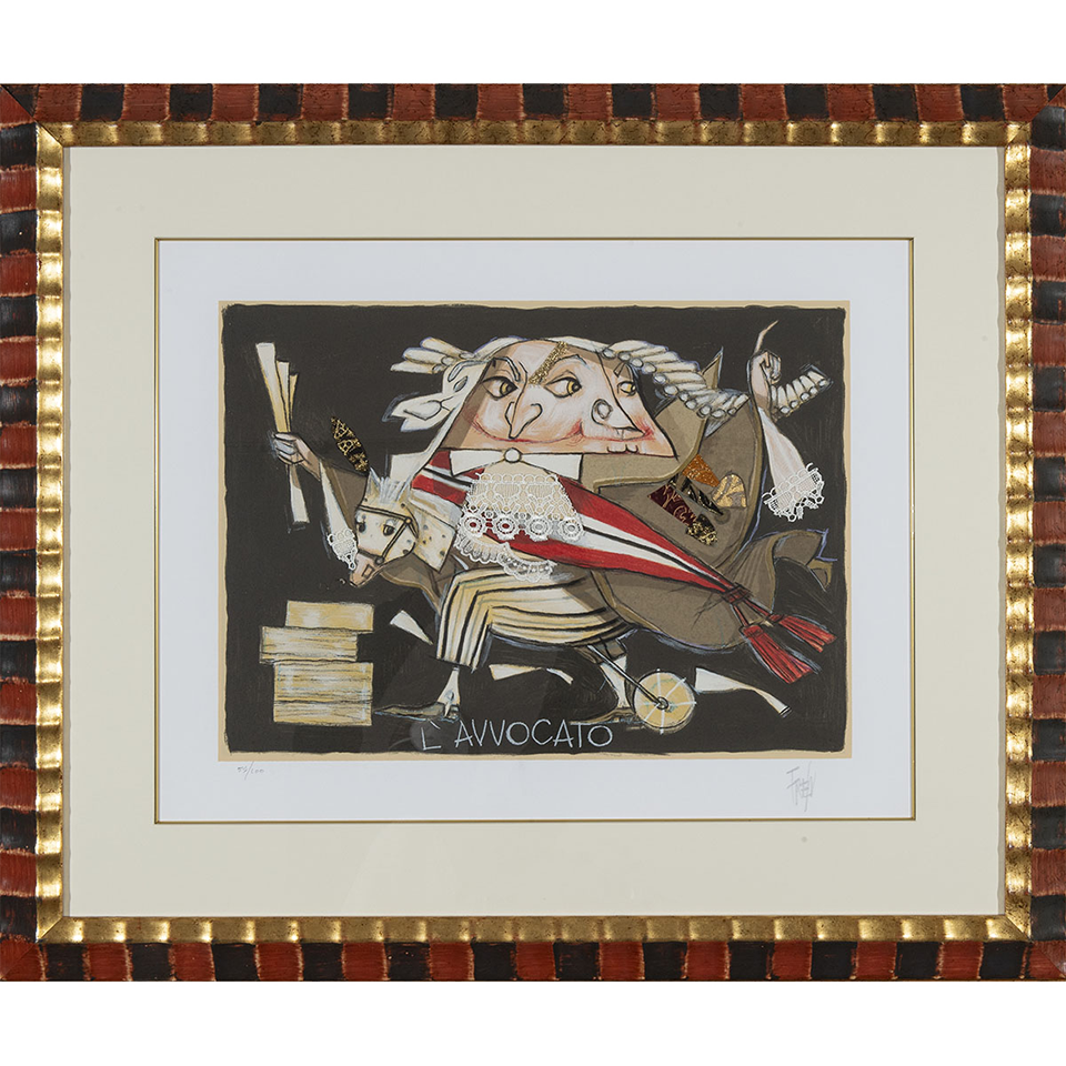 Paolo Fresu – L'avvocato – Serigrafia e collage 86×73 cm