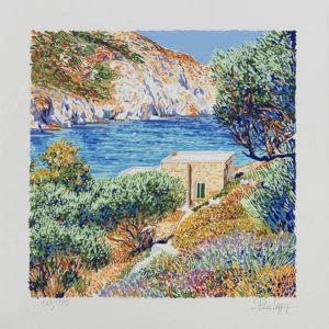Pino Cappugi - Paesaggio A Platiena - Serigrafia Polimaterica 25x25cm