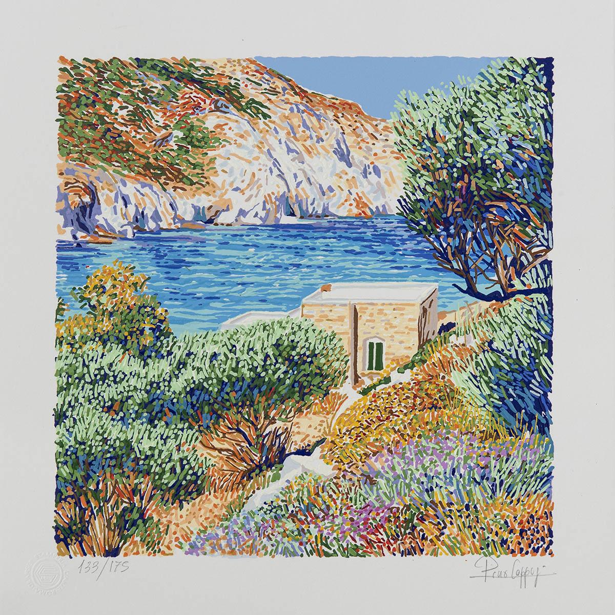 Pino Cappugi – Paesaggio A Platiena – Serigrafia Polimaterica 25×25