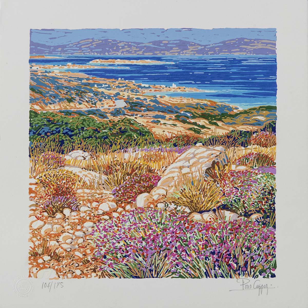 Pino Cappugi - Panorama a Paros - Serigrafia polimaterica 25x25cm