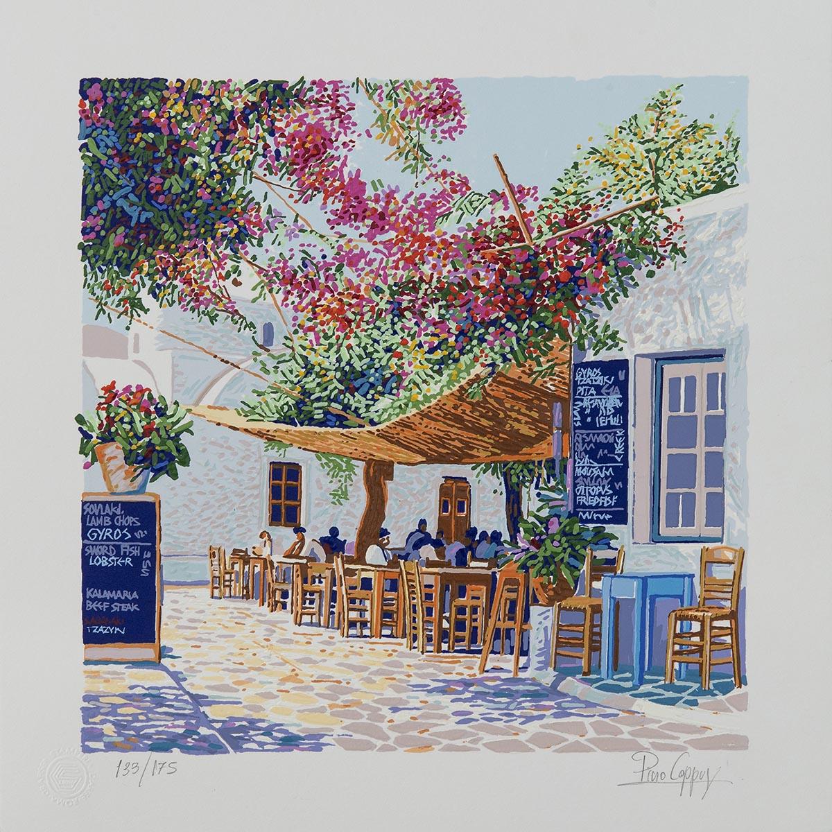Pino Cappugi - Taverna a Folegandros - Serigrafia polimaterica 25x25cm