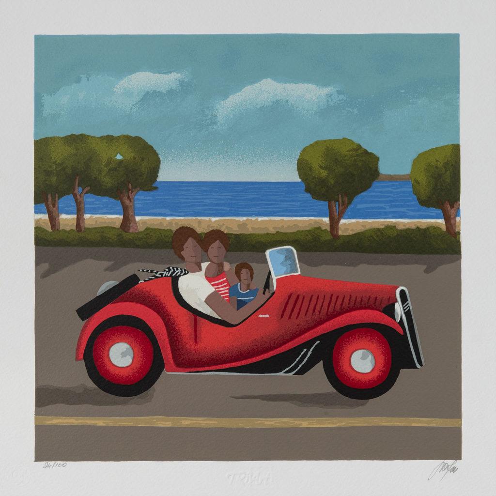 Renato Sciolan - Con papà e mamma - Serigrafia 33x33cm