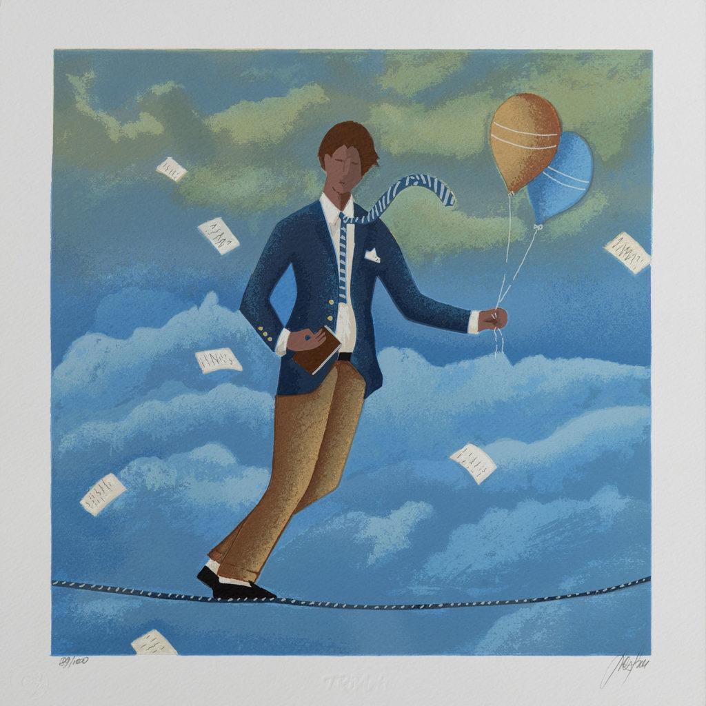 Renato Sciolan - Funambolo - Serigrafia 33x33cm