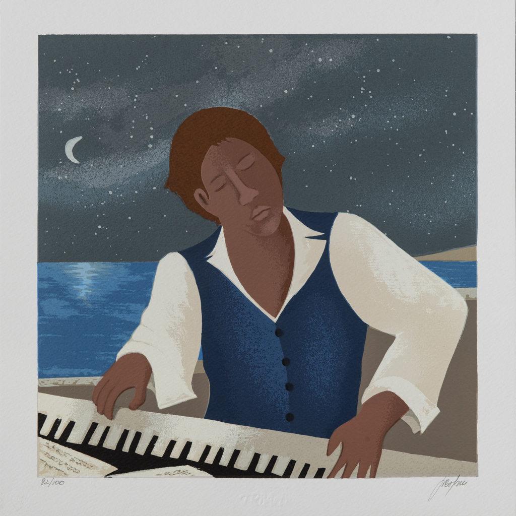 Renato Sciolan - Il pianista delle stelle - Serigrafia 33x33cm