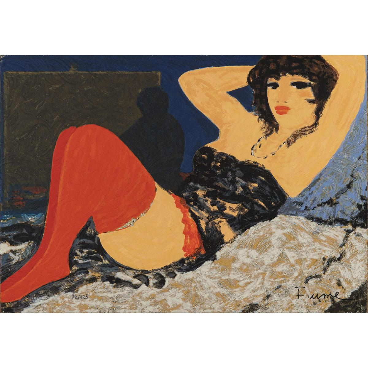 Salvatore Fiume - La Modella Del Pittore - Serigrafia Polimaterica D'apres 35x50cm