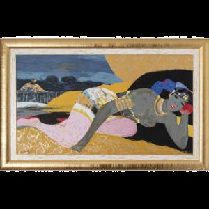 Salvatore Fiume – L'alcova Del Sultano – Serigrafia Polimaterica D'apres 111x176cm