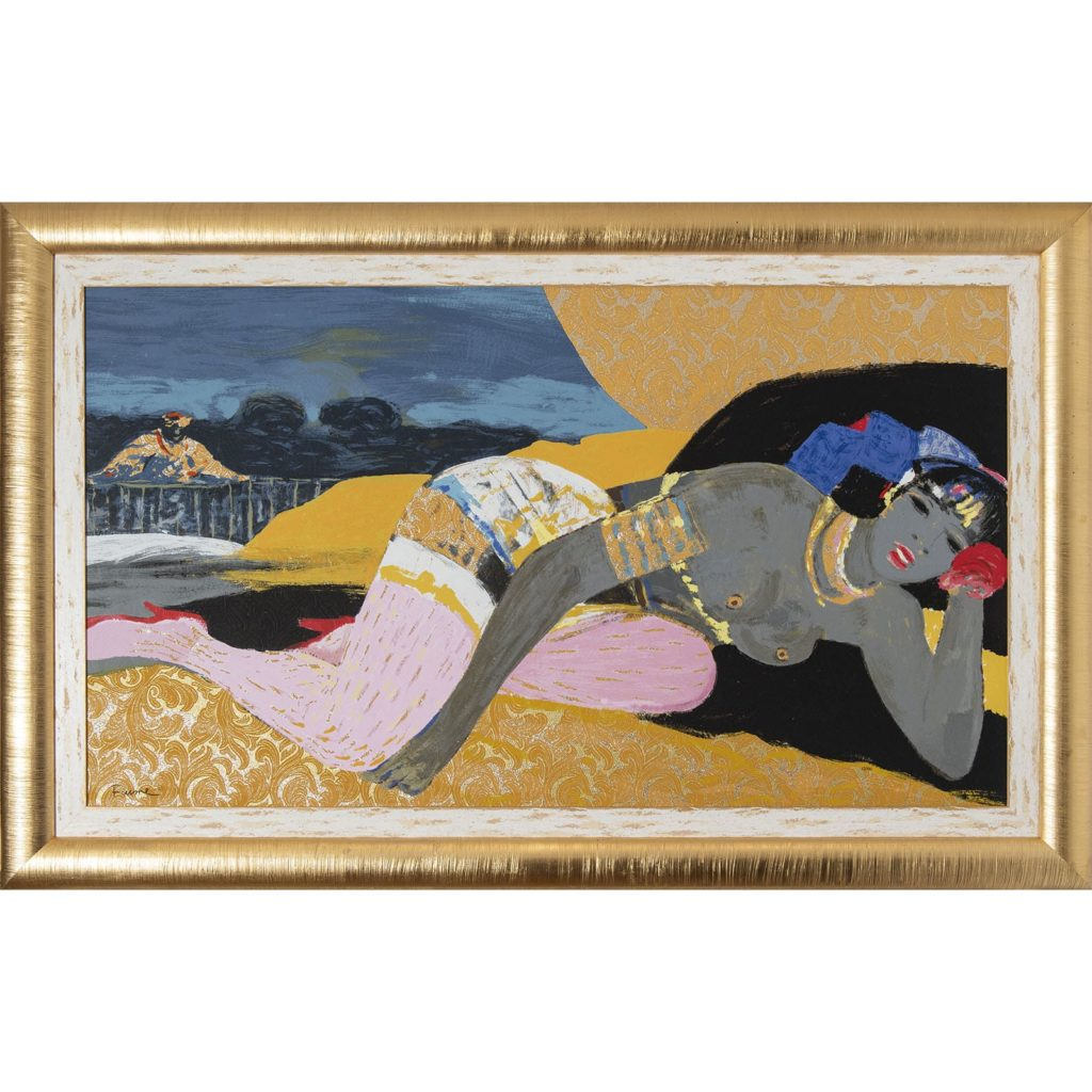 Salvatore Fiume - L'alcova del sultano - Serigrafia polimaterica d'apres 111x176cm