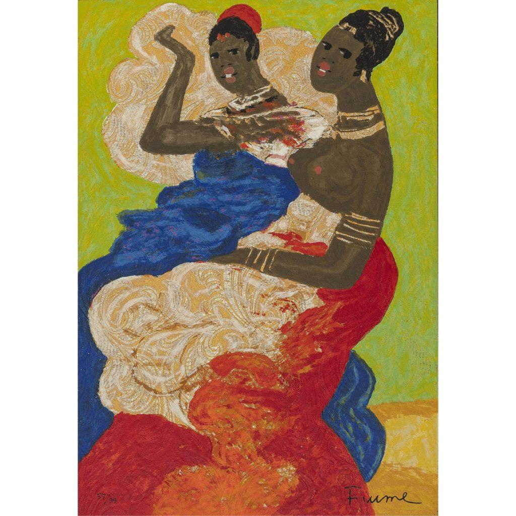 Salvatore Fiume - Le sorelle somale - Serigrafia polimaterica d'apres 50x35cm