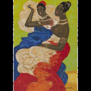 Salvatore Fiume – Le Sorelle Somale – Serigrafia Polimaterica D'apres 50x35cm