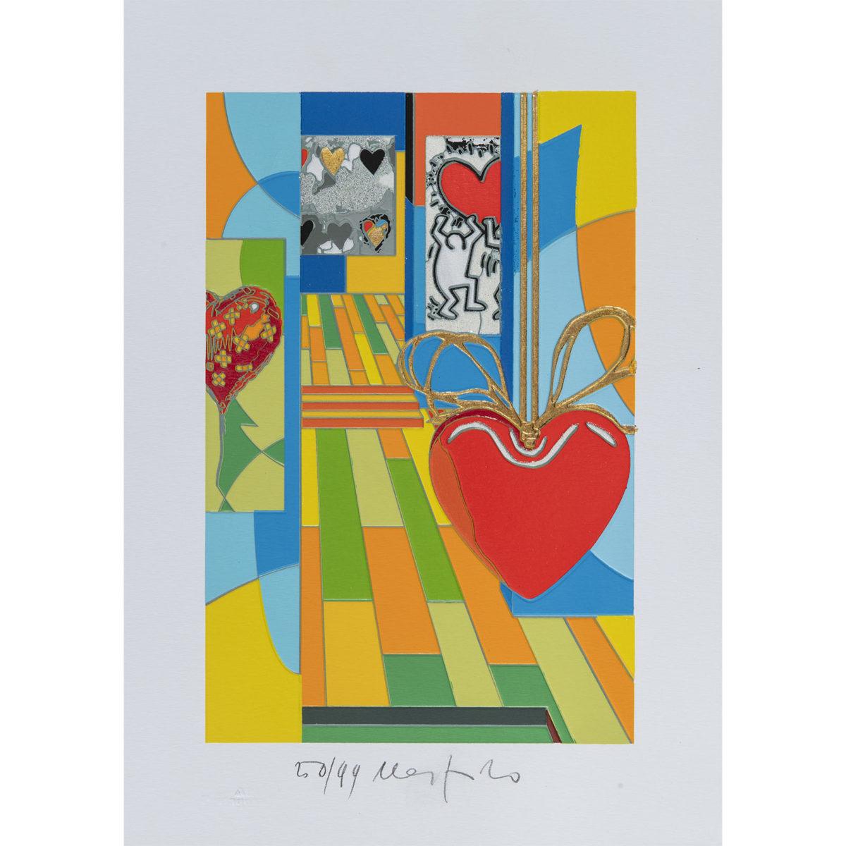 Ugo Nespolo - Funny hearts - Serigrafia 35x25cm