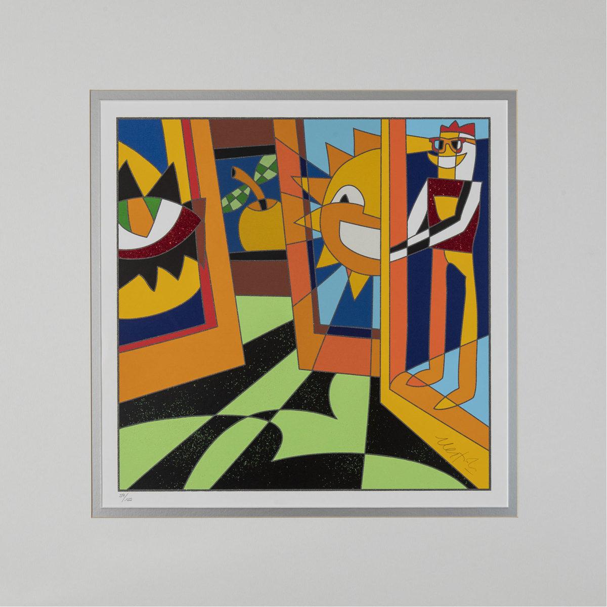 Ugo Nespolo - Interno Di Museo - Serigrafia 50x50cm
