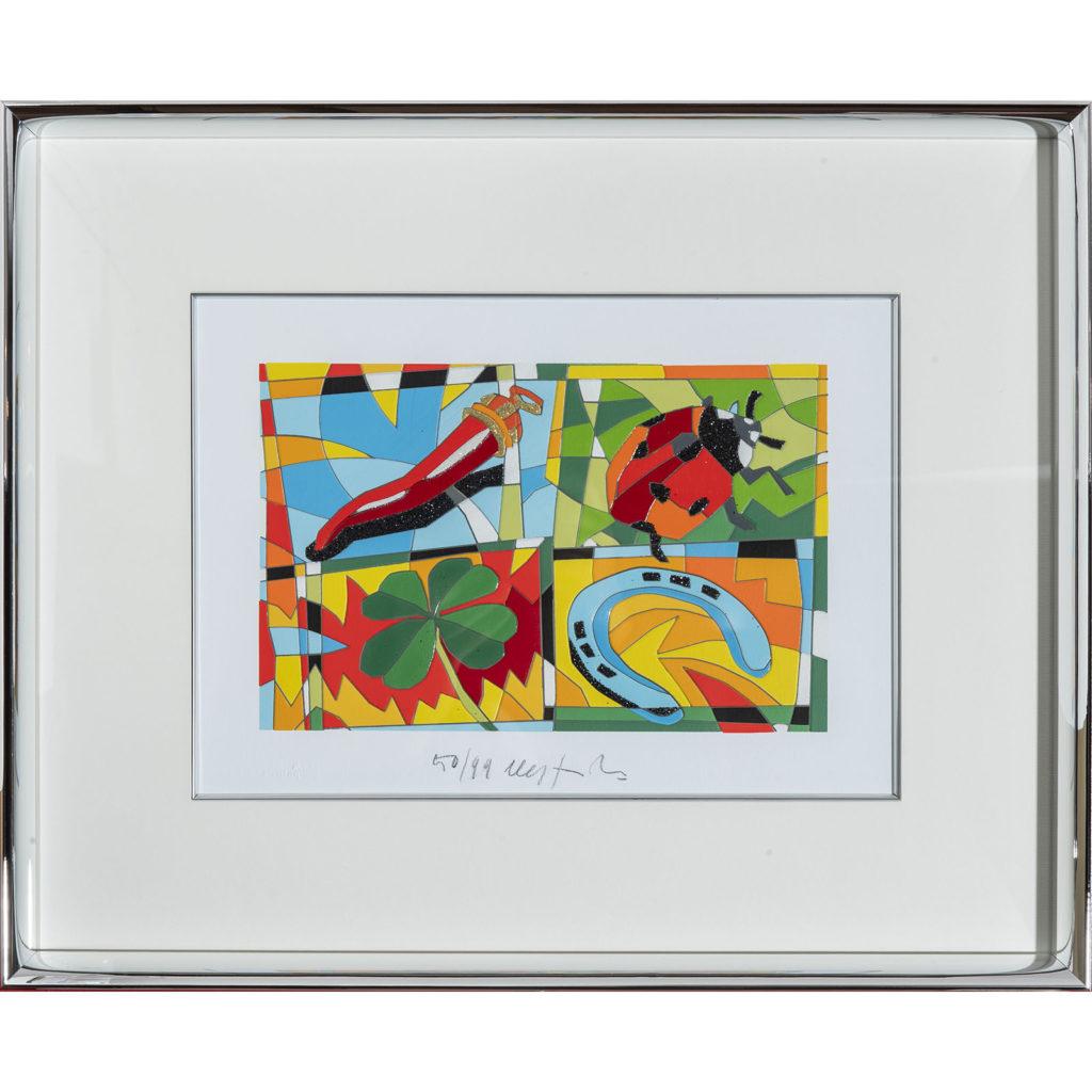 Ugo Nespolo - Lucky you - Serigrafia 41x51cm