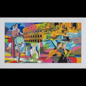 Ugo Nespolo - Movie Time - Serigrafia 70x120