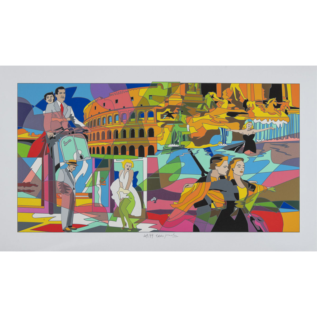 Ugo Nespolo - Movie Time - Serigrafia 70x120cm